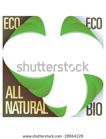 Eco and all natural corner label stickers with peeling leaves - for use in print materials, on product packaging, and on websites