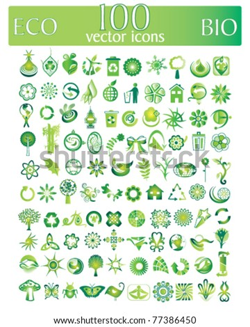 eco and bio vector set of 100 vector icons and design-elements
