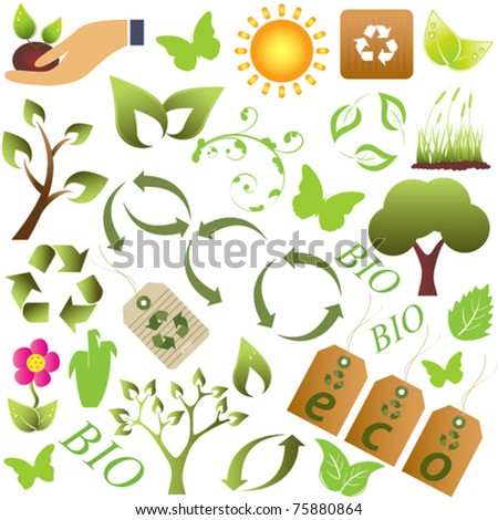 Eco and environment friendly symbols