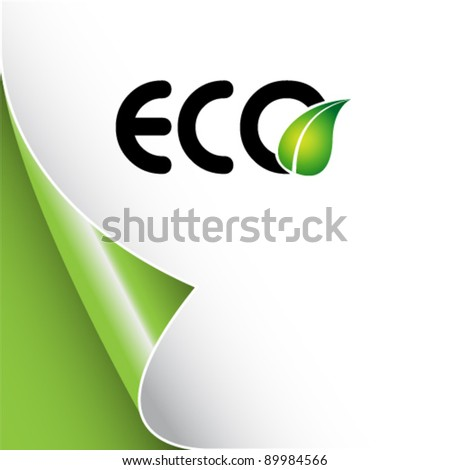 eco background with leaf logo - stock vector