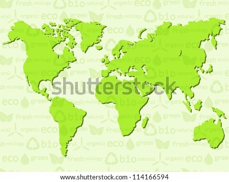 Eco background with World map. Vector illustration. - stock vector