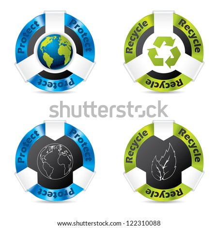 Eco badge designs for earth and nature protection