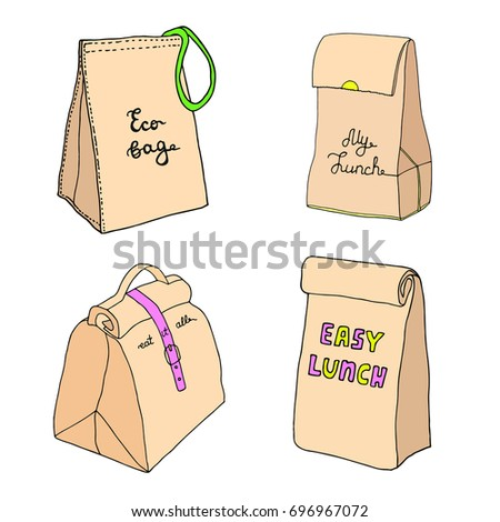 Eco bag, my lunch, eat it all, easy lunch. Lunch box collection. Hand drawn sketch.