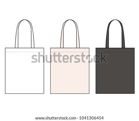 ECO BAG vector illustration flat sketches template