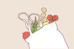 Eco bag with products on color background. Hand drawn style vector design illustrations.