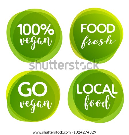 Eco bio and organic food label. Vegan product element green labels or sticker. Ecology food label.