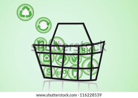Eco & bio icons basket concept