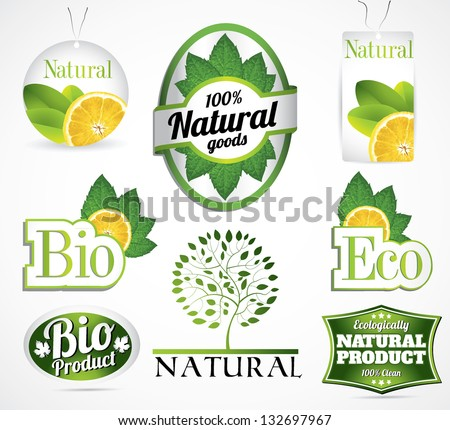 eco bio natural label collection with mint leaf and lemon slice in all different styles from modern to retro