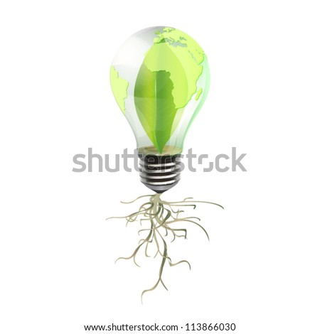 Eco bulb with leaf inside and roots. Vector background design.
