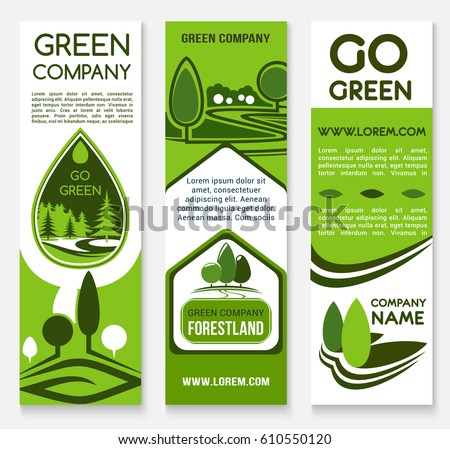 eco business banner template set green tree and forest nature landscape symbol with text layouts
