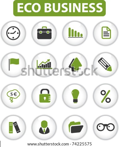 eco business buttons, vector