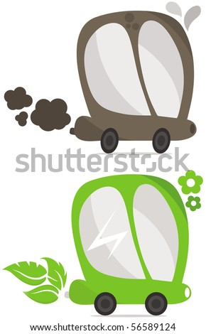 Eco car concept. Two cars with one working on oil and another on eco power. Vector.