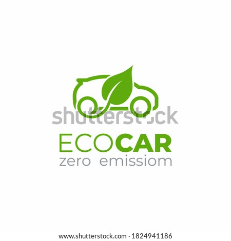 Eco car logo template. Green car icon. Green leaf and car sign.  Environment protection transport symbol.