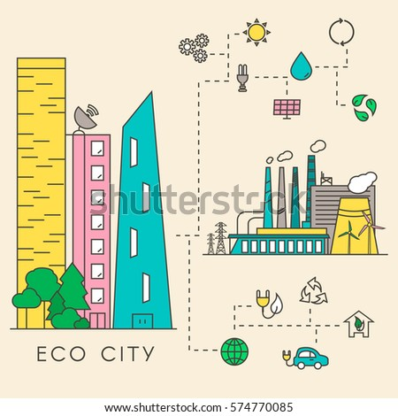 Eco City in Linear Style - skyscrapers, solar panels, wind turbines, green home, energy generator and factory. Ecology and environment concept illustration. Green energy urban design elements.