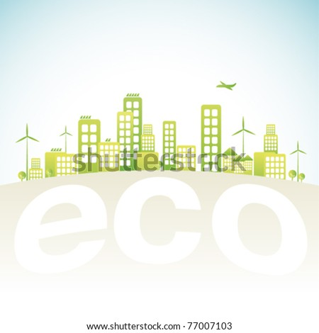 Eco city in vector illustration