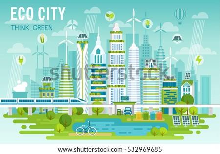 Eco city skyline vector illustration.