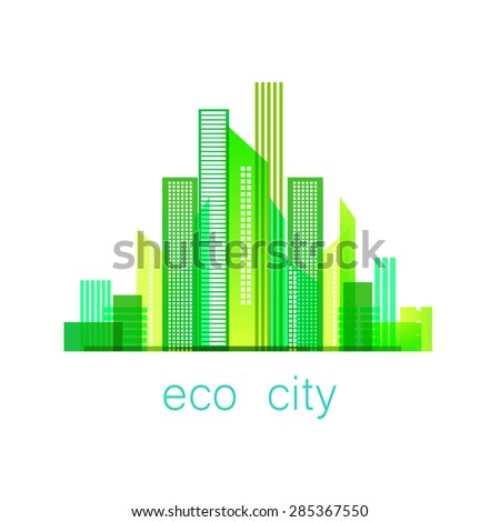 Ecoconcept eco-city - template logo. eco concept. vector sign . | ez canvas