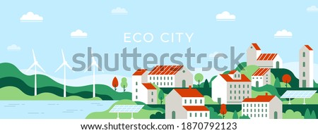 Eco city. Urban landscape of future town use alternative energy sources solar panel and windmills. Save environment ecology vector concept. Town with green wild nature and renewable energy