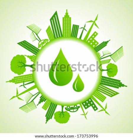 eco cityscape around water
