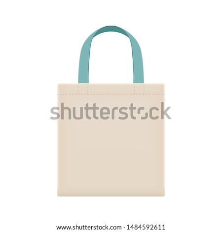 eco cloth bags blank or cotton yarn cloth bags, fabric cloth bag with handle strap blue pastel, eco bag template for design graphic in campaign to use bags to reduce waste using plastic bags