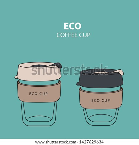 Eco coffee cup to go. Glass with cork. Flat design