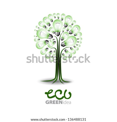 Eco concep -: A light bulb with tree inside - Vector illustration