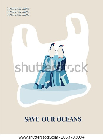 Eco concept poster with Adelie penguins. Environment protection.