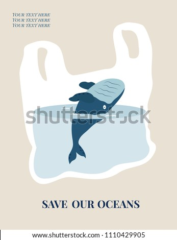 Eco concept poster with blue whale. Environment protection.