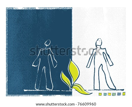 Eco concepts - little plant and silhouettes of two people