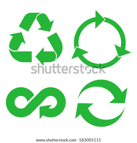 Eco cycle arrows icon set. Green recycled symbol isolated on white background. Vector illustration.