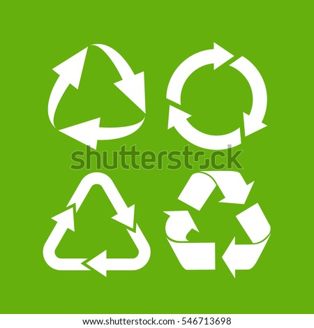 Eco cycle arrows icon set vector illustration on green background. Green recycled vector icon. Recycle vector symbol.