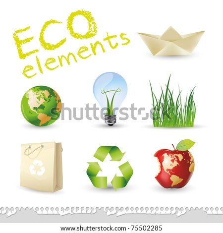 Eco 3d elements - stock vector