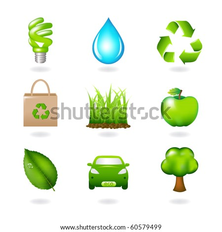 Eco Design Elements And Icons, Isolated On White Background, Vector Illustration - stock vector