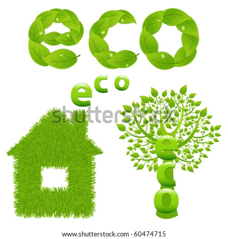 Eco Design Elements, Green Tree, House And Word From Leaves, Isolated On White Background, Vector Illustration