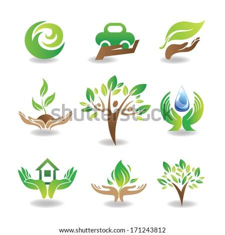 eco design elements  isolated