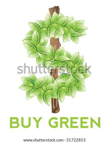 Eco Dollar Sign - Vector Illustration