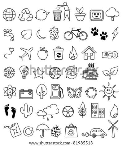 Eco doodle icon set - stock vector