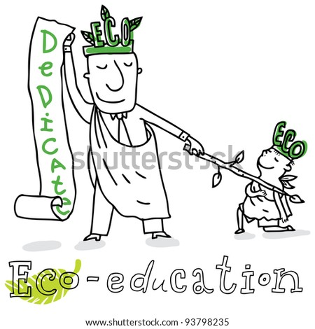 Eco education; ecology and environment protection, vector drawing ; isolated on background.