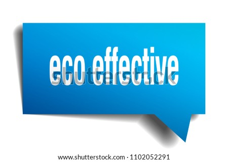 eco effective blue 3d square isolated speech bubble