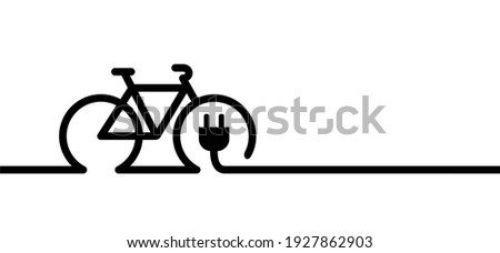 Eco electric bicycle, e-bike charge sign. Electric plug, bike battery charger. Bikes on a bicycle parking, power station charging point symbol. Flat vector ebike signs. Mountain biker.