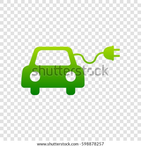 Eco electric car sign. Vector. Green gradient icon on transparent background.