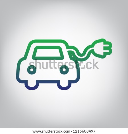 Eco electric car sign. Vector. Green to blue gradient contour icon at grayish background with light in center.