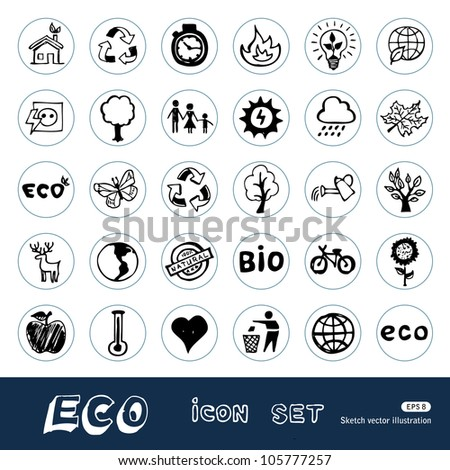 Eco elements and environment web icons set. Hand drawn sketch illustration isolated on white background