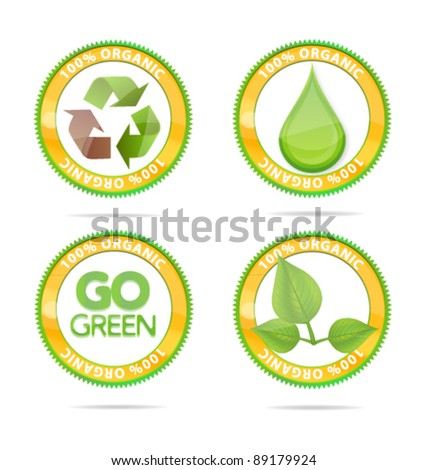 eco emblems set green color