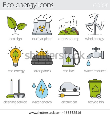 eco energy color icons set