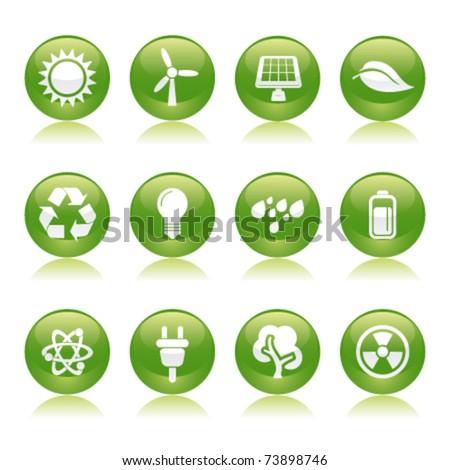 eco energy glossy icons - stock vector