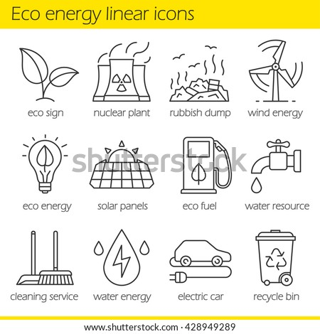 eco energy linear icons set