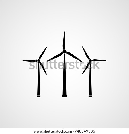 Eco energy. Wind turbines. Vector illustration