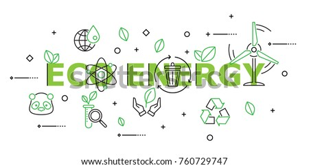 Eco Energy with Icon Set in Concept of Ecology and Green Energy . Flat Thin line designed vector illustration on white Background. Editable Stroke.