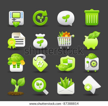 ECO, environmental icon set | Dark series - stock vector
